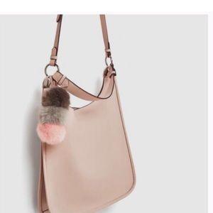 Zara Bucket Pompon Pendant Pink Faux Leather Bag